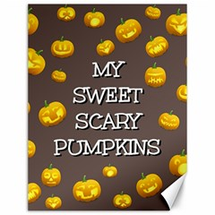 Scary Sweet Funny Cute Pumpkins Hallowen Ecard Canvas 12  X 16   by Amaryn4rt