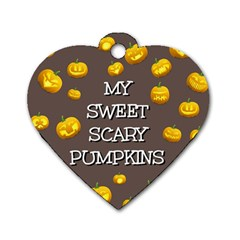 Scary Sweet Funny Cute Pumpkins Hallowen Ecard Dog Tag Heart (two Sides) by Amaryn4rt