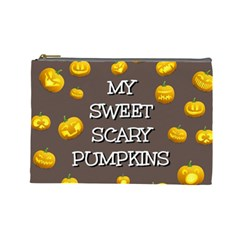 Scary Sweet Funny Cute Pumpkins Hallowen Ecard Cosmetic Bag (large)  by Amaryn4rt