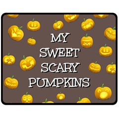 Scary Sweet Funny Cute Pumpkins Hallowen Ecard Fleece Blanket (medium)  by Amaryn4rt