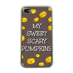 Scary Sweet Funny Cute Pumpkins Hallowen Ecard Apple Iphone 4 Case (clear) by Amaryn4rt