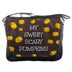 Scary Sweet Funny Cute Pumpkins Hallowen Ecard Messenger Bags by Amaryn4rt