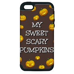 Scary Sweet Funny Cute Pumpkins Hallowen Ecard Apple Iphone 5 Hardshell Case (pc+silicone) by Amaryn4rt
