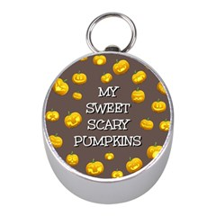 Scary Sweet Funny Cute Pumpkins Hallowen Ecard Mini Silver Compasses by Amaryn4rt