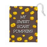 Scary Sweet Funny Cute Pumpkins Hallowen Ecard Drawstring Pouches (Extra Large) Front