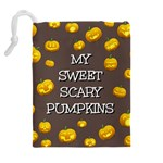 Scary Sweet Funny Cute Pumpkins Hallowen Ecard Drawstring Pouches (Extra Large) Back