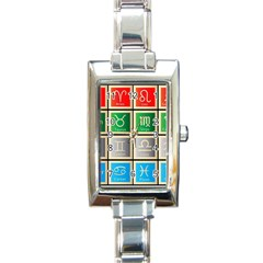 Set Of The Twelve Signs Of The Zodiac Astrology Birth Symbols Rectangle Italian Charm Watch by Amaryn4rt