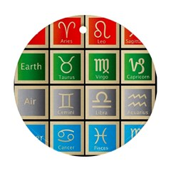 Set Of The Twelve Signs Of The Zodiac Astrology Birth Symbols Ornament (round) by Amaryn4rt