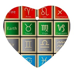 Set Of The Twelve Signs Of The Zodiac Astrology Birth Symbols Ornament (heart) by Amaryn4rt