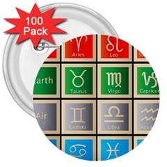 Set Of The Twelve Signs Of The Zodiac Astrology Birth Symbols 3  Buttons (100 Pack)  by Amaryn4rt