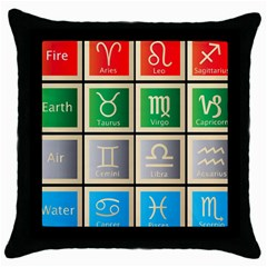 Set Of The Twelve Signs Of The Zodiac Astrology Birth Symbols Throw Pillow Case (black) by Amaryn4rt