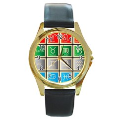 Set Of The Twelve Signs Of The Zodiac Astrology Birth Symbols Round Gold Metal Watch by Amaryn4rt