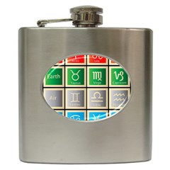 Set Of The Twelve Signs Of The Zodiac Astrology Birth Symbols Hip Flask (6 Oz) by Amaryn4rt