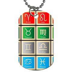 Set Of The Twelve Signs Of The Zodiac Astrology Birth Symbols Dog Tag (two Sides) by Amaryn4rt