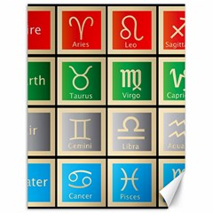 Set Of The Twelve Signs Of The Zodiac Astrology Birth Symbols Canvas 18  X 24   by Amaryn4rt