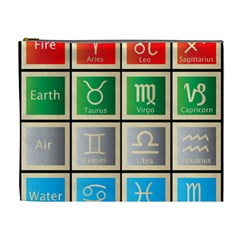 Set Of The Twelve Signs Of The Zodiac Astrology Birth Symbols Cosmetic Bag (xl) by Amaryn4rt