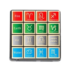 Set Of The Twelve Signs Of The Zodiac Astrology Birth Symbols Memory Card Reader (square) by Amaryn4rt