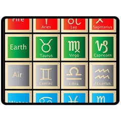 Set Of The Twelve Signs Of The Zodiac Astrology Birth Symbols Fleece Blanket (large)  by Amaryn4rt