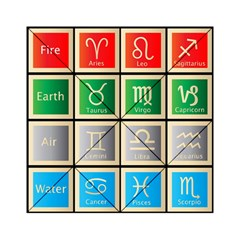 Set Of The Twelve Signs Of The Zodiac Astrology Birth Symbols Acrylic Tangram Puzzle (6  X 6 ) by Amaryn4rt
