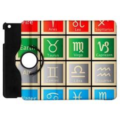 Set Of The Twelve Signs Of The Zodiac Astrology Birth Symbols Apple Ipad Mini Flip 360 Case by Amaryn4rt