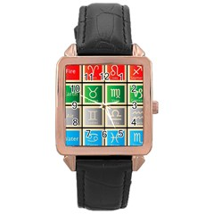 Set Of The Twelve Signs Of The Zodiac Astrology Birth Symbols Rose Gold Leather Watch  by Amaryn4rt