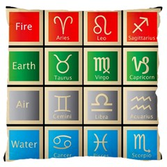 Set Of The Twelve Signs Of The Zodiac Astrology Birth Symbols Large Flano Cushion Case (one Side) by Amaryn4rt