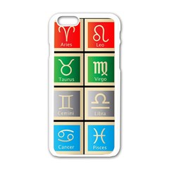 Set Of The Twelve Signs Of The Zodiac Astrology Birth Symbols Apple Iphone 6/6s White Enamel Case by Amaryn4rt
