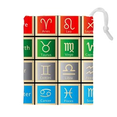 Set Of The Twelve Signs Of The Zodiac Astrology Birth Symbols Drawstring Pouches (extra Large) by Amaryn4rt