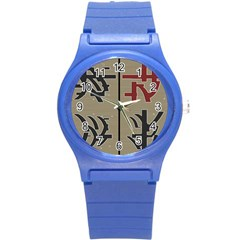 Xia Script On Gray Background Round Plastic Sport Watch (s) by Amaryn4rt