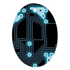 A Completely Seamless Background Design Circuitry Ornament (oval) by Amaryn4rt