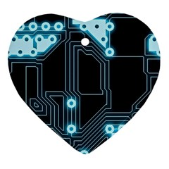 A Completely Seamless Background Design Circuitry Ornament (heart) by Amaryn4rt