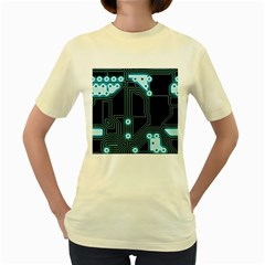 A Completely Seamless Background Design Circuitry Women s Yellow T Shirt by Amaryn4rt