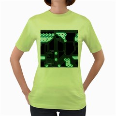 A Completely Seamless Background Design Circuitry Women s Green T Shirt by Amaryn4rt