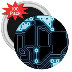 A Completely Seamless Background Design Circuitry 3  Magnets (100 Pack) by Amaryn4rt