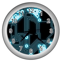 A Completely Seamless Background Design Circuitry Wall Clocks (silver)  by Amaryn4rt