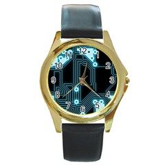 A Completely Seamless Background Design Circuitry Round Gold Metal Watch by Amaryn4rt