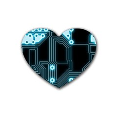 A Completely Seamless Background Design Circuitry Rubber Coaster (heart)  by Amaryn4rt