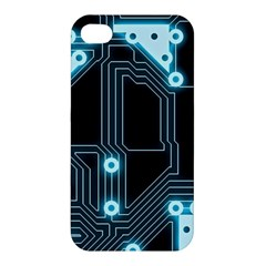 A Completely Seamless Background Design Circuitry Apple Iphone 4/4s Premium Hardshell Case by Amaryn4rt