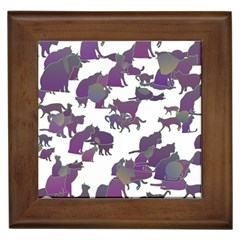 Many Cats Silhouettes Texture Framed Tiles by Amaryn4rt