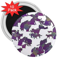 Many Cats Silhouettes Texture 3  Magnets (10 Pack)  by Amaryn4rt