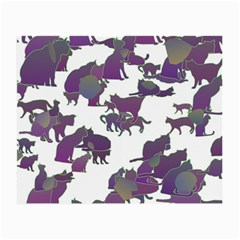 Many Cats Silhouettes Texture Small Glasses Cloth by Amaryn4rt