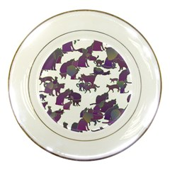 Many Cats Silhouettes Texture Porcelain Plates by Amaryn4rt