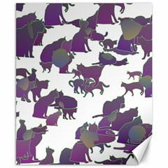 Many Cats Silhouettes Texture Canvas 8  X 10  by Amaryn4rt
