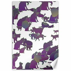 Many Cats Silhouettes Texture Canvas 20  X 30   by Amaryn4rt