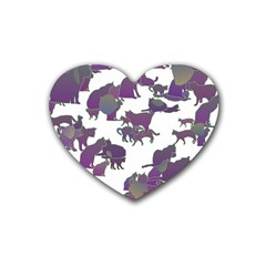 Many Cats Silhouettes Texture Heart Coaster (4 Pack)  by Amaryn4rt