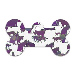 Many Cats Silhouettes Texture Dog Tag Bone (one Side) by Amaryn4rt