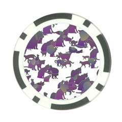Many Cats Silhouettes Texture Poker Chip Card Guard by Amaryn4rt