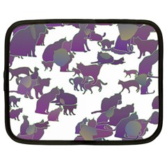 Many Cats Silhouettes Texture Netbook Case (large) by Amaryn4rt