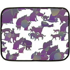 Many Cats Silhouettes Texture Fleece Blanket (mini) by Amaryn4rt