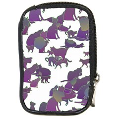 Many Cats Silhouettes Texture Compact Camera Cases by Amaryn4rt